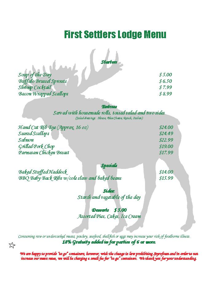 First Settlers Lodge Menu